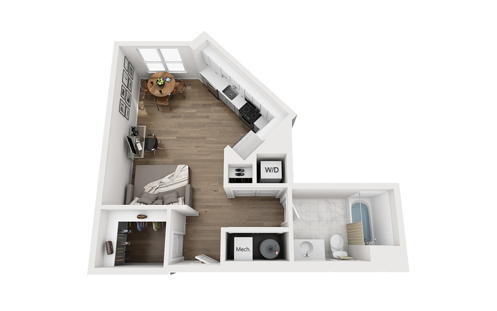 B-A1 - Studio floorplan layout with 1 bath and 542 square feet.