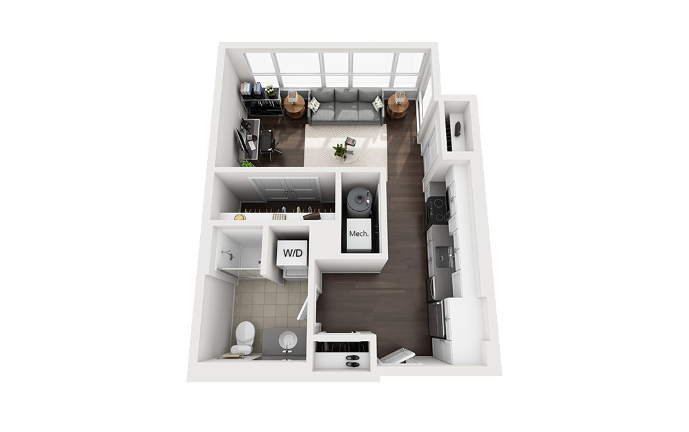 B-A3 - Studio floorplan layout with 1 bath and 508 square feet.