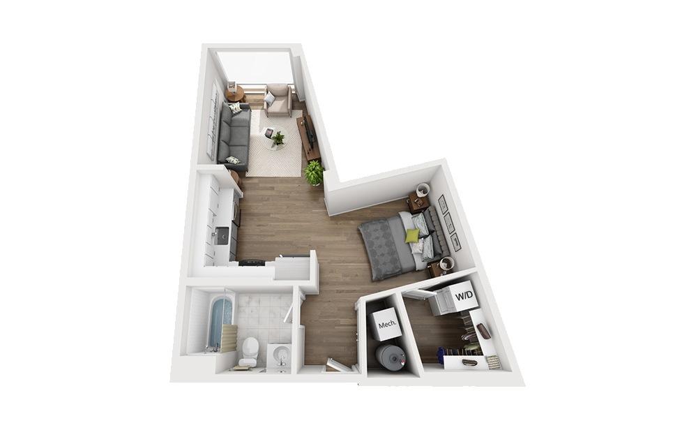 B-A4 - Studio floorplan layout with 1 bath and 589 square feet.