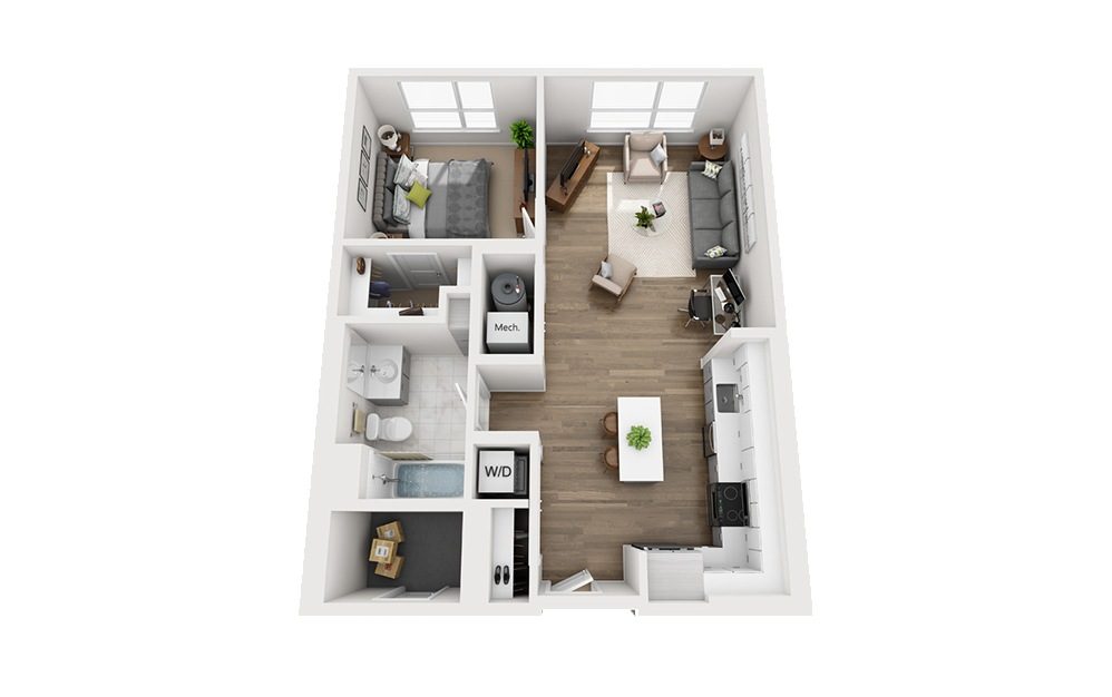B-B1 - 1 bedroom floorplan layout with 1 bath and 749 square feet.