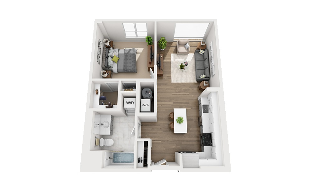 B-B2 - 1 bedroom floorplan layout with 1 bath and 738 square feet.