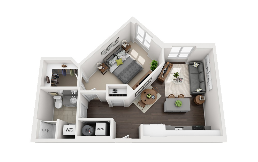 B-B3 - 1 bedroom floorplan layout with 1 bath and 665 square feet.