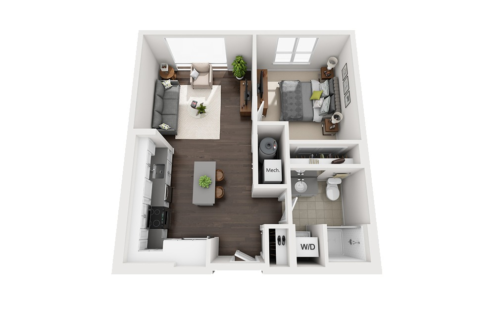 B-B4 - 1 bedroom floorplan layout with 1 bath and 667 square feet.