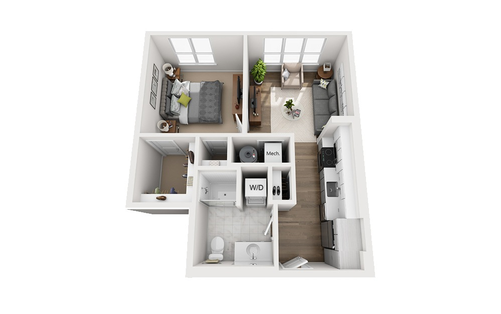 B-B5 - 1 bedroom floorplan layout with 1 bath and 592 square feet.