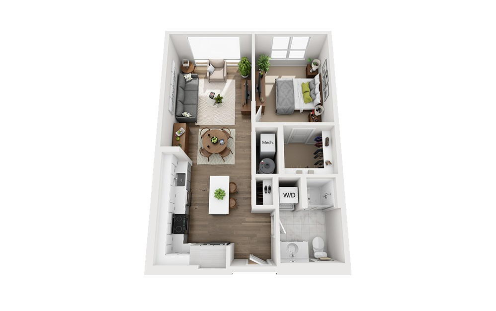 B-B6 - 1 bedroom floorplan layout with 1 bath and 676 square feet.