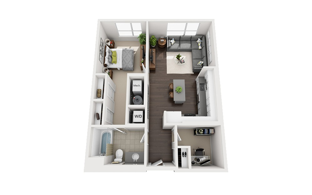 B-C1 - 1 bedroom floorplan layout with 1 bath and 795 square feet.