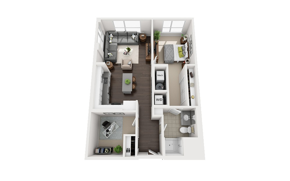 B-C2 - 1 bedroom floorplan layout with 1 bath and 874 square feet.