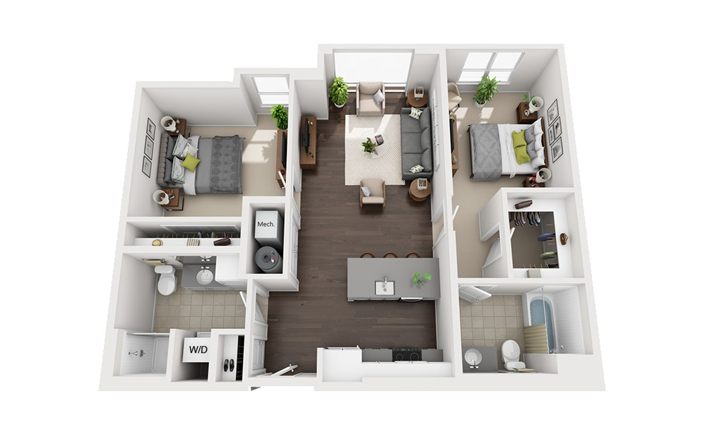 B-D1 - 2 bedroom floorplan layout with 2 baths and 1058 square feet.