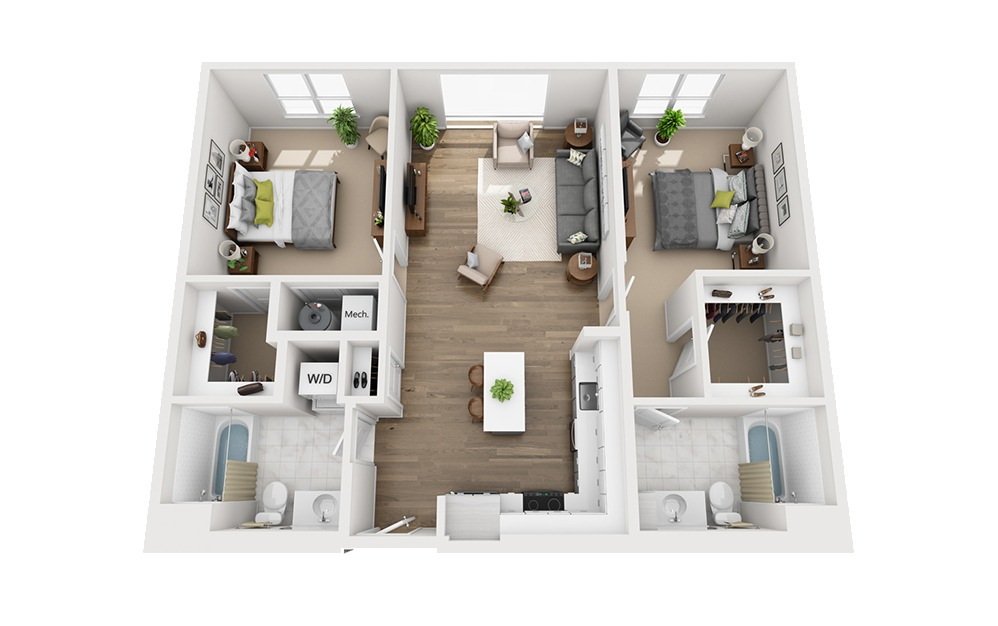 B-D2 - 2 bedroom floorplan layout with 2 baths and 1118 square feet.