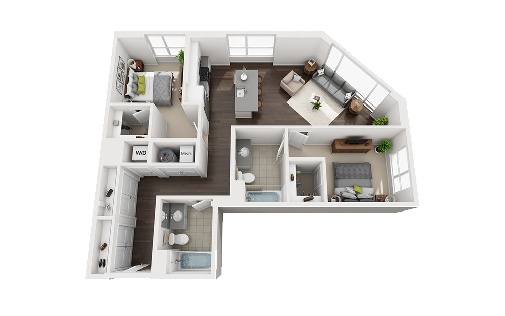 B-D3 - 2 bedroom floorplan layout with 2 baths and 1187 square feet.