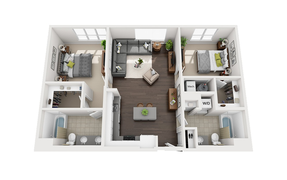 B-D4 - 2 bedroom floorplan layout with 2 baths and 1083 square feet.