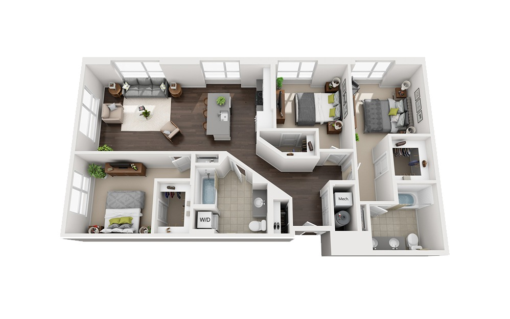 B-F1 - 3 bedroom floorplan layout with 2 baths and 1453 square feet.
