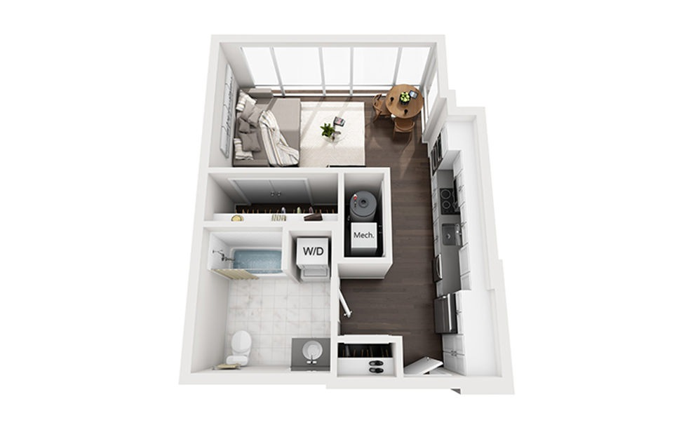 B-A3-2A - Studio floorplan layout with 1 bath and 508 square feet.