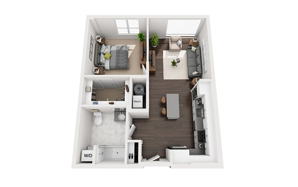 B-B2-2A - 1 bedroom floorplan layout with 1 bath and 738 square feet.