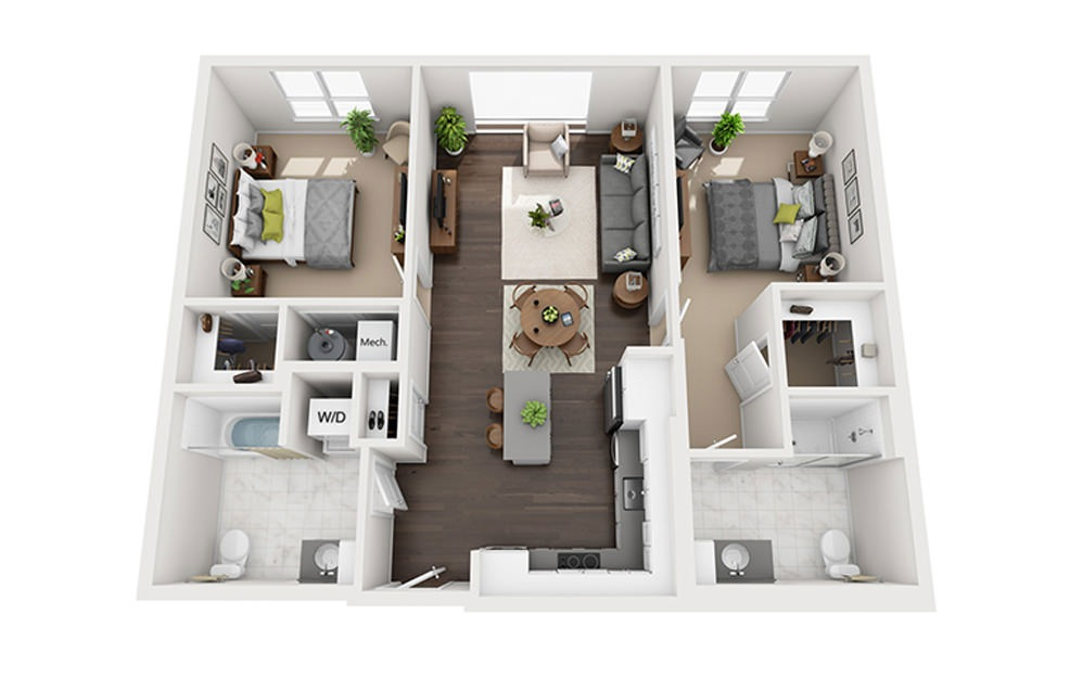 B-D2-2A - 2 bedroom floorplan layout with 2 baths and 1118 square feet.