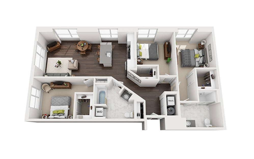 B-F1-2A - 3 bedroom floorplan layout with 2 baths and 1453 square feet.