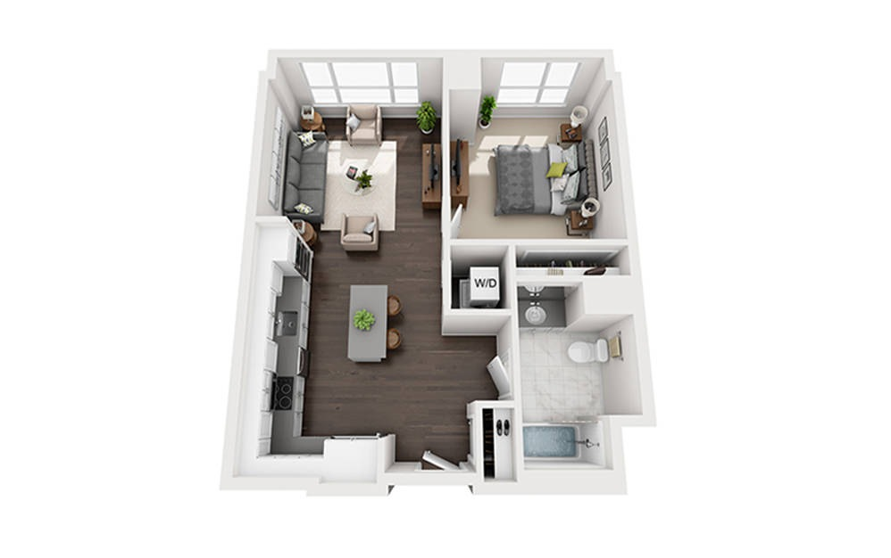 M-B3-2A - 1 bedroom floorplan layout with 1 bath and 696 square feet.