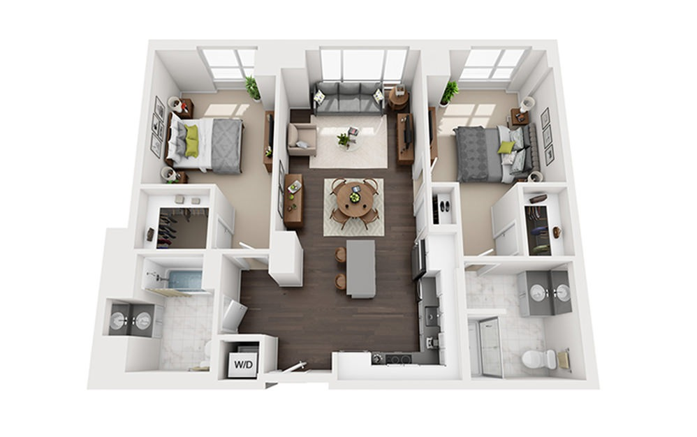 M-D3-A-2A - 2 bedroom floorplan layout with 2 baths and 1119 square feet.
